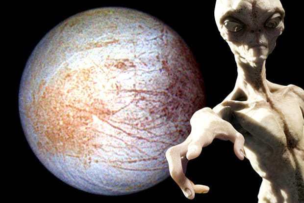 alien infront of europa moon