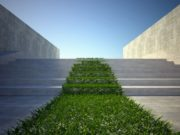 3d ecology concept, green grass and stairs on street