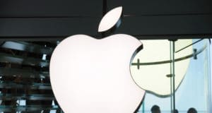Apple Inc logo at Hong Kong Apple store